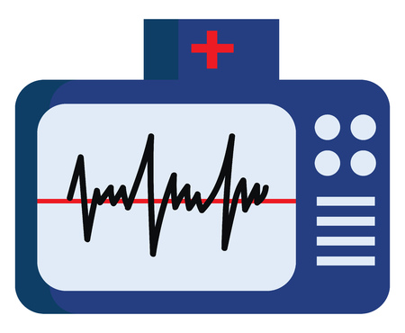Blue color electrocardiogram with buttons on the side depicting ECG waves vector color drawing or illustration