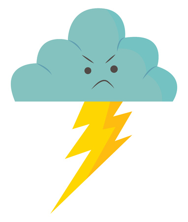 An angry rain cloud with thunder flashing from it vector color drawing or illustration