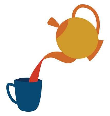 A drawing of tea poured into a blue cup from a yellow and orange teapot vector color drawing or illustration Illustration
