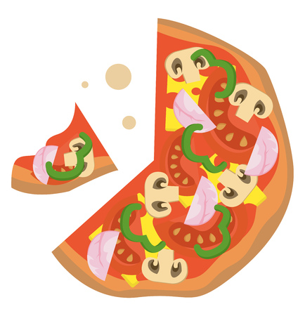 Pizza classic illustration vector on white background  イラスト・ベクター素材