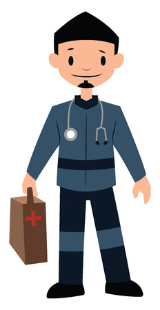 Paramedic in blue uniform character vector illustration on a white background