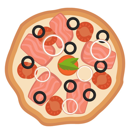 Pizza with onionstomato and olives illustration vector on white background 일러스트