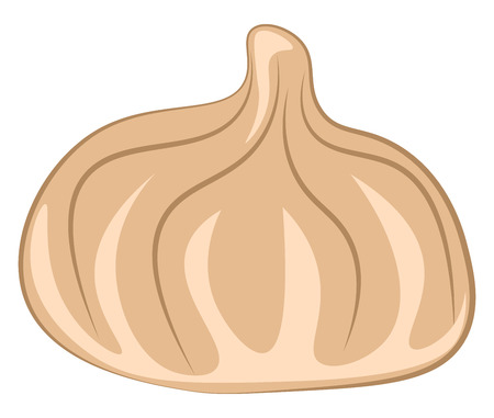 A light brown Asian dumpling filled with meat or vegetables vector color drawing or illustration