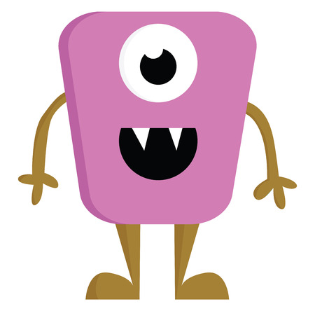 A pink and brown single eyed double tooth happy monster vector color drawing or illustration