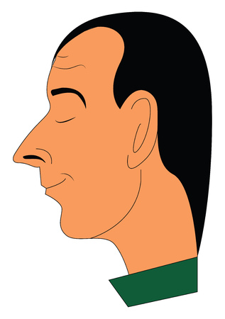 A man in a green-colored costume is with a pointed nose large ears and has closed his eyes vector color drawing or illustration