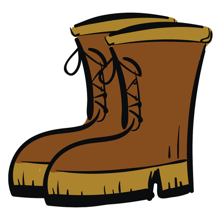 A pair of tall brown boots lace-up detail vector color drawing or illustration