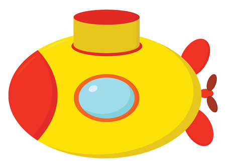 A cute little orange and yellow colored cartoon submarine is ready to attack other submarines and watercraft vector color drawing or illustration