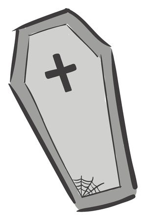 A large grey coffin with a black cross engraved on the top and a spider web at the bottom vector color drawing or illustration Illustration