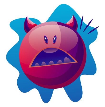 Suprised cartoon purple monster vector illustartion on white background