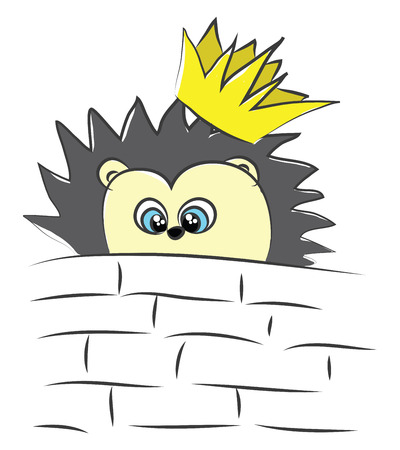 Cartoon of a gorgeous yellow hedgehog with black spines all over their body wearing a crown peep from the bricks of the wall vector color drawing or illustration Illustration