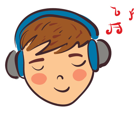 A boy with brown hair having his eyes closed and listening to music on his blue and grey headphones vector color drawing or illustration Imagens - 121232253