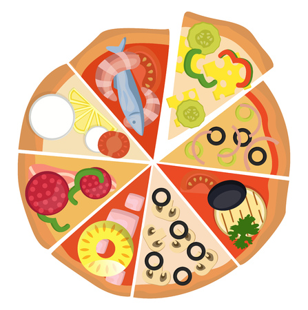 Eight different slices of pizza illustration vector on white background