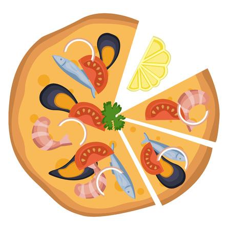 Pizza frutti di mare illustration vector on white background
