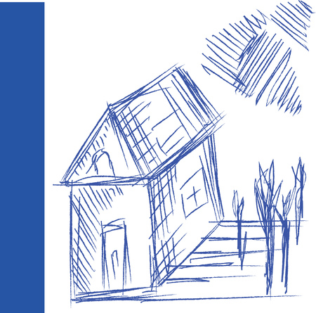 A pen drawing of a house with one door one window to the side and one attic window It also has about four trees and sky vector color drawing or illustration