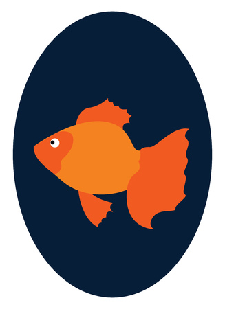 A small orange goldfish swimming in a fish bowl vector color drawing or illustration Illustration