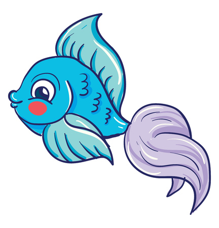A pretty blue fish with a lavender tail and a red cheek vector color drawing or illustration Illustration