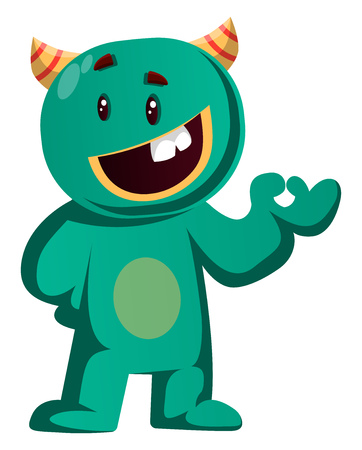 Green monster giving OK sign vector illustration 向量圖像