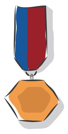 A bronze hexagon shaped medal with a blue and red ribbon attached to it vector color drawing or illustration
