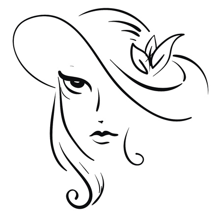 Artwork of a pretty lady wearing a designed cap on her long hair in black and white vector color drawing or illustration