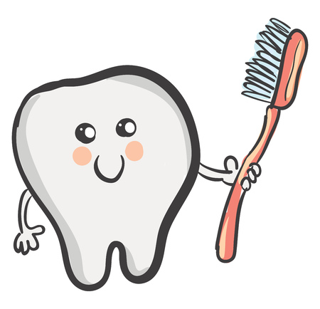 A cartoon tooth that looks so cute with a smiley face holds a red toothbrush with blue bristles vector color drawing or illustration