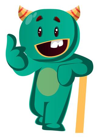 Green monster is in very casual mood vector iillustraion Иллюстрация