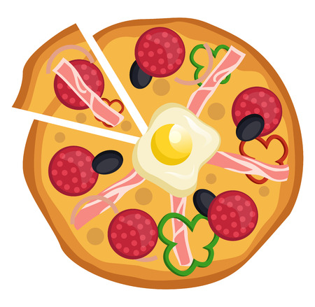 Salami and egg pizza illustration vector on white background 写真素材 - 121159836