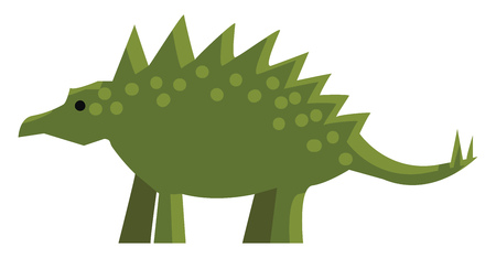 An ancient green dinosaur with spikes on its back and tail vector color drawing or illustration