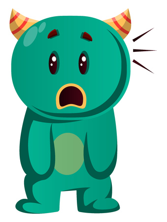 Green monster cant believe what is happening vector illustration