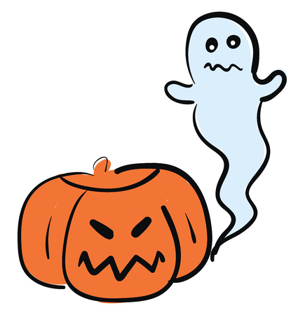A picture of a ghost and a Jack O Lantern used during Halloween vector color drawing or illustration Illustration