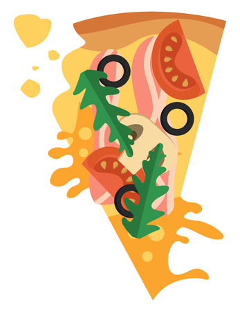 Pizza with bacon and vegetables illustration vector on white background Ilustracja
