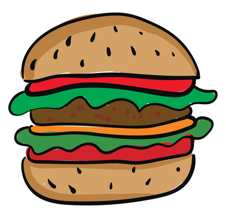 A cheeseburger with one patty lettuce leaves and slices of tomatoes vector color drawing or illustration Illustration