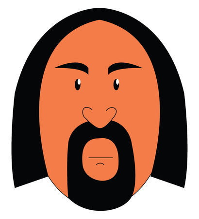 A man with long hair and a stylish beard has a heart-shaped nose and thick eyebrows and gives a strange look vector color drawing or illustration