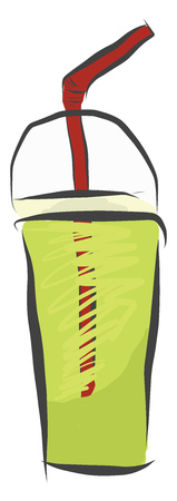 A disposable cup of healthy fresh green juice with a red straw vector color drawing or illustration