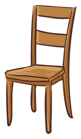 A brown wooden dining chair with four legs and a backrest vector color drawing or illustration
