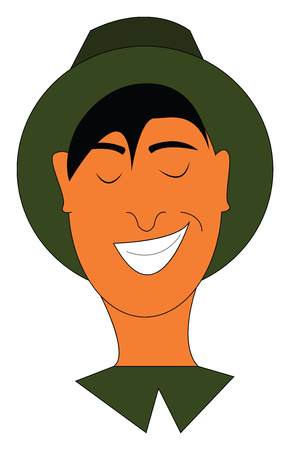 A man in a green-colored hat and shirt is laughing while his eyes closed vector color drawing or illustration