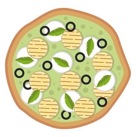 Vegetarian pizza illustration vector on white background