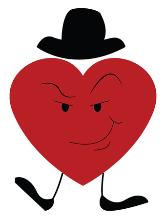 A big heart red in color wearing a hat has legs and a smirk expression on its face vector color drawing or illustration