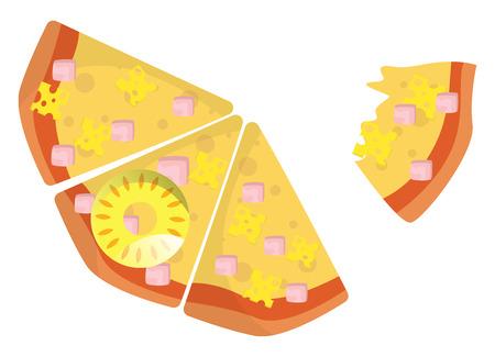 Half eaten Hawaiian pizza illustration vector on white background