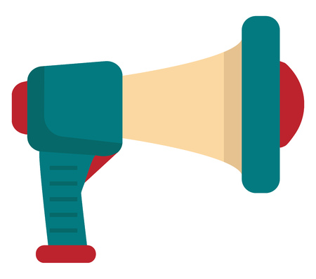 A hand-held and cone-shaped colorful cartoon megaphone in combinations of peach blue and red is typically used to make announcements vector color drawing or illustration