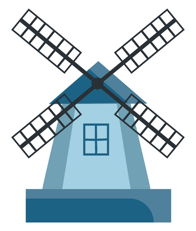 Blue colored cartoon windmill with black-colored vanes or blades and the tower with windows vector color drawing or illustration