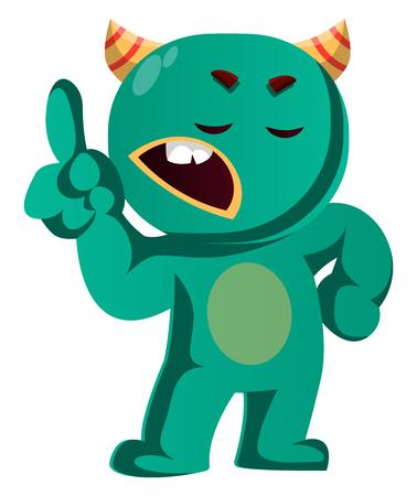 Wait a minute green monster is gesturing vector illustration Çizim