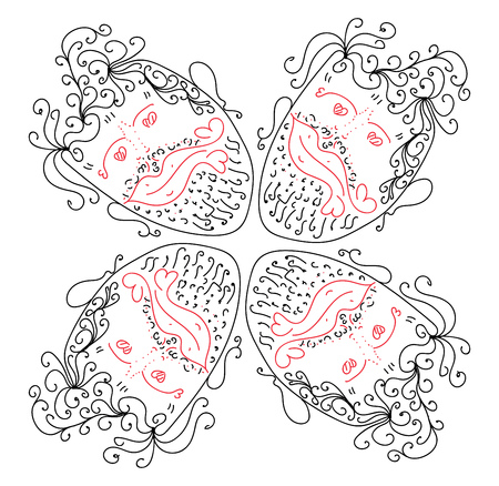 Person hearted hearty head pattern ornament for valentine day for a boyfriend packaging vector color drawing or illustration