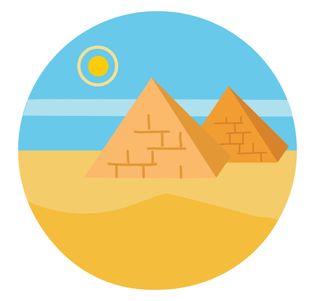 The landscape of pyramids whose outer surfaces are triangular and that converge to a single point at the top and the rising sun in Egypt vector color drawing or illustration Banco de Imagens - 121159713