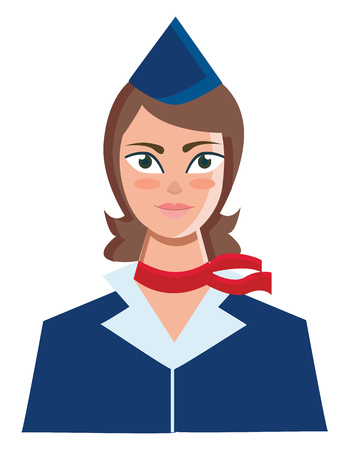 A woman employed to look after the passengers on a ship or aircraft in her blue uniform with a red scarf around her neck vector color drawing or illustration Stock Illustratie