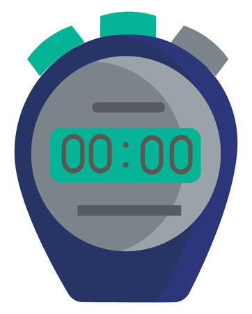 Clipart of a blue-colored stopwatch with green and grey colored buttons that start stop and then zero the hands used to time races vector color drawing or illustration 向量圖像