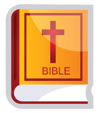 Yellow and red vector illustration of a Bible on a white background