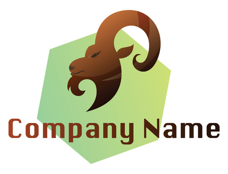Brown ram head on green hexagon vector logo illustration on a white background Illustration