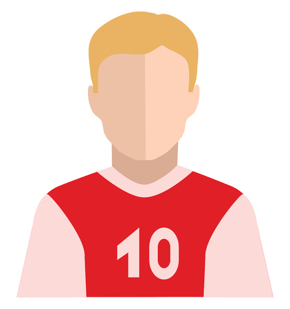 The clipart of a player with hair colored in yellow with a red shirt printed with number 10 looks handsome vector color drawing or illustration