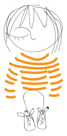 Art of a one-eyed cute little cartoon girl dressed in her orange striped dress vector color drawing or illustration