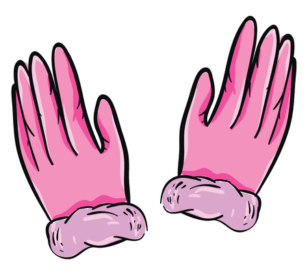 A pair of hands with brilliant pink-colored gloves looks so cute and lovely vector color drawing or illustration Illusztráció